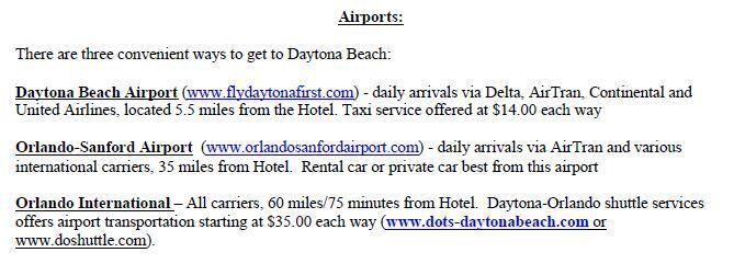 Daytona Beach - Airport Options